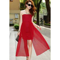 Red Strapless Pleated Mini Dress