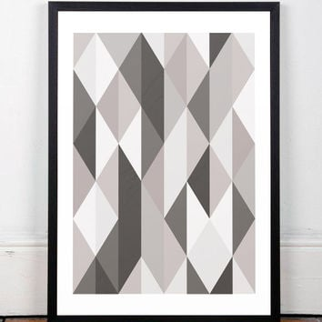 Geometric print, Triangles wall art, Scandinavian art, Home decor, Monochrome art, Geometric wall art, Nordic art, Minimalist art, Print art
