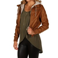 Cognac Knit Faux Leather Jacket