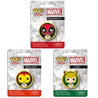 Funko POP Marvel Comics Pin Deadpool - Iron Man - Loki - 3pc set