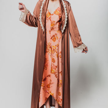 Vintage Vanity Fair 70s robe brown long evening robe lace detail robe