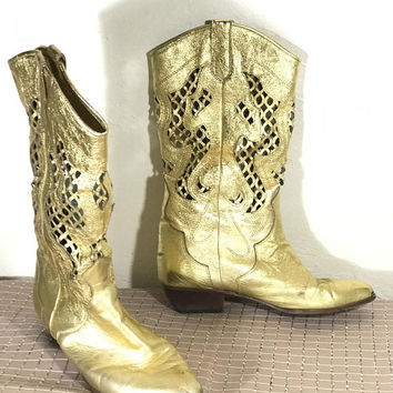 Vintage Metallic Gold Cowboy Boots / Vero Cuoio Lenni Italian Designer Boots / Genuine Leather Boots / Shiny Gold Boots / 1980s Disco Glam