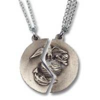 Silver US Marine Corps Mizpah Pendant Set, Pewter Silver Tone Marine Corps Wife or Girlfriend Pendant Necklace Set