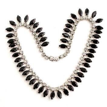 Vintage Warner Rhinestone Necklace -  Silver Tone 1950s Clear & Black Glass Costume Jewelry / Black and White Faux Diamond