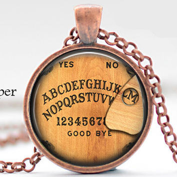 Initial M Necklace, Best Friend,Back to School Teacher Gift The Letter M Art Pendant Nostalgic Ouija Board Personalized Necklace