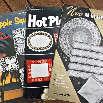 Vintage Crochet Booklets Hairpin Lace Pineapple Squares Hot Plate Mats Patterns