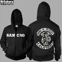 Sons of Anarchy Samcro Thickening Cotton-padded Jacket SOA Winter Warm Hoodie Flannel Coats Soft Comfort Cashmere Sweatshirts [9210699267]