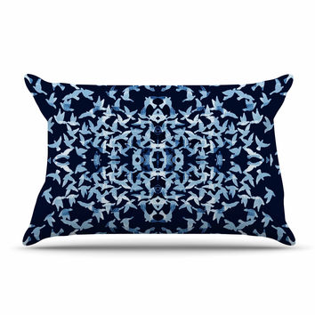 """Marianna Tankelevich """"Night Birds"""" Blue Abstract Pillow Case"""