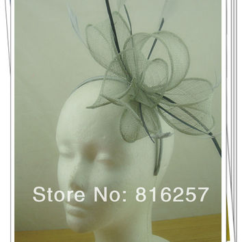 Free shipping silver color high quality fascinators/nice wedding accessories/ sinamay fascinator hats/event headwear FS111