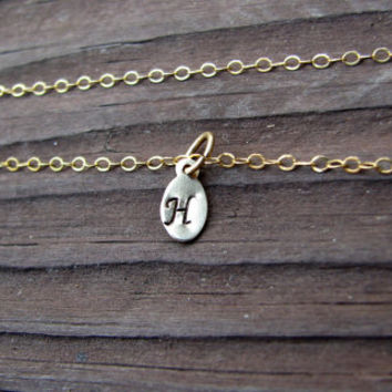 Tiny Stamped Initial Necklace- 14k Yellow Gold Filled- Personalized Necklace- Mini- Dainty- Everyday Necklace- Monogrammed- Oval Charm Tag