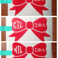 4 Inch Bow Monogram Sticker With Greek Letters