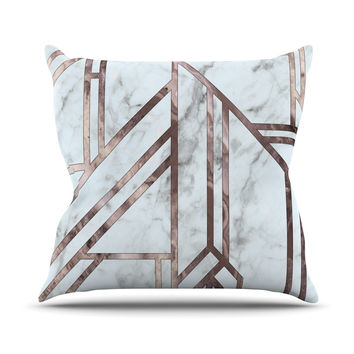 "KESS Original ""Dark Marble Mosaic"" Digital Geometric Outdoor Throw Pillow"