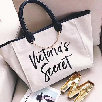 Victoria's Secret Stylish Simple Canvas Chain Single Shoulder Bag Large Capacity Handbag White I13482-1