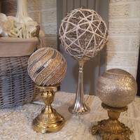 3 upcycled Christmas Sphere Pedestal Christmas decorations ~ Silver Gold Mercury Glass ~ Mantle centerpiece decor