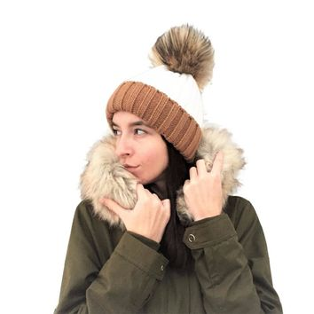 Raccoon Fur Ball Winter Hat Knitted Real Unisex women girl Pom Pom Cap kids Beanie Hat warm cap