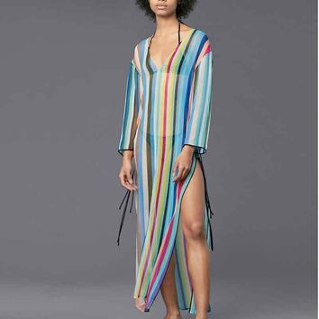 Saida De Beach Lace Swim Cover Up Swimwear To Outings Women's And Tunics Sarong 2018 Big Loose Chiffon Color Stripe Blouses