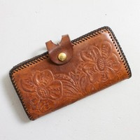 Vintage 1970s Wallet - Brown Tooled Leather 70s