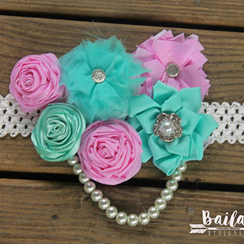 Pregnancy sash, Maternity photo prop, baby shower corsage, baby shower sash, its a girl sash, gender neutral  sash, aqua and pink belly sash