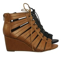 Oakland14 Gladiator Lace Up Ghillie Peep Toe Wedge Heel Sandal