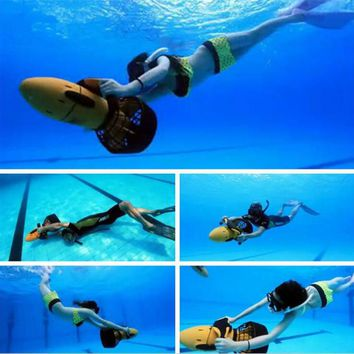 Sea Scooter Waterproof 300W Electric Dual Speed Underwater Propeller Diving Pool Scooter ( Without Battery ). Battery: 6AH, 24V you can buy this battery at your local auto parts store. Charger is included!!!