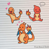 Charmander/Charmeleon/Charizard Stickers and Magnets