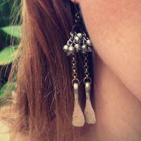 Silver Metal Earrings. Vintage Tribal Boho Earrings. Ethnic Gypsy Handmade Jewelry. Sabine Earrings