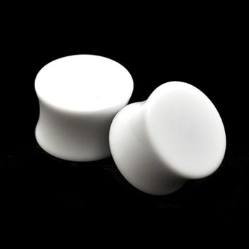 Pair of White Acrylic Double Flare Plugs set expanders gauges lot Choose Size