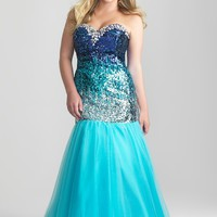 Night Moves 6781W Turquoise Plus Size Dress