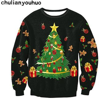 Christmas Patton Sweater Santa Claus Cute Print Pullover Sweater Jumper Outwear Women's Patterns of Reindeer Snowman Christmas