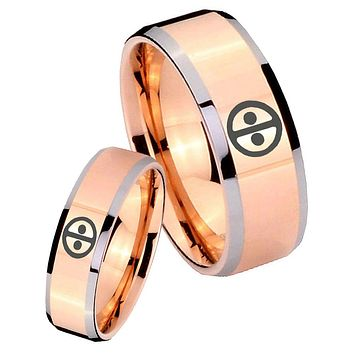 His Hers Rose Gold Beveled Dead Pool 2 Tone Tungsten Wedding Rings Set