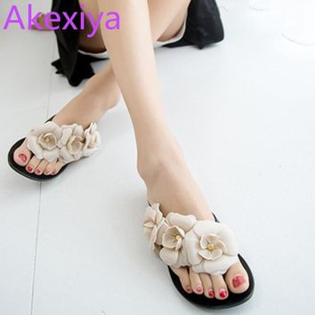 Akexiya Flower Women Sandals Flat Flip Flops Bohemian Gladiator Sandals Women Summer S