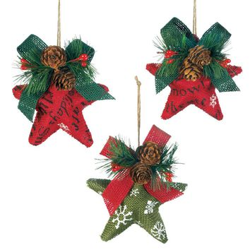 Country Christmas-Rustic Burlap Stars Ornament Trio