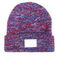 Quiet Life: Marled Beanie - Red / Blue