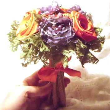"Fabric Flower Wedding Bouquet, Custom, Wedding, Vintage, 6"", , Pearl, Shabby Chic, Rustic, Lace, Purple, Orange, Green, Burlap Stems, Toss"