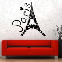 Vinyl Wall Decal Eiffel Tower Paris France Romantic Art Heart Stickers Unique Gift (193ig)