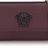 Versace Palazzo Burgundy Grained Leather Small Pouch
