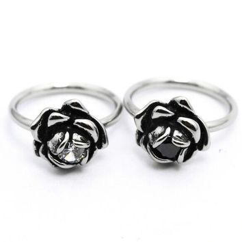 Size 4~9 Cool Lover Rose Ladies Ring With Black Clear Stone 316L Stainless Steel Jewelry Biker Band Ring