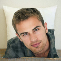 Theo James Look at You Pillow Case, Pillow Decoration, Pillow Cover, 16 x 16 Inch One Side, 16 x 16 Inch Two Side, 18 x 18 Inch One Side, 18 x 18 Inch Two Side, 20 x 20 Inch One Side, 20 x 20 Inch Two Side