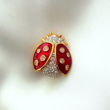 Swarovski Retired Ladybug Pin Brooch Crystal and Enamel