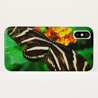 Chic, cute black and white striped butterfly photo iPhone x case