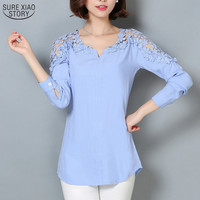 2017 New Camisas Femininas Lace Sleeve Blouse Shirt Women V-Neck Floral Lace Sexy Casual Linen Shirts Plus Size Lady Shirt 185B