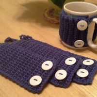Set of 4 Country Blue button Crochet Mug Cozy, coffee cup cozies, koozie