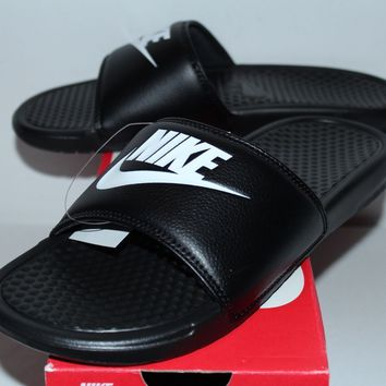 Nike Air Benassi JDI Black White Slide Slippers 343880-090 Men's Size 7-11 New