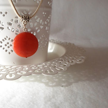 Gemstone Necklace. Orange Agate Necklace. Leather Suede cord. Everday Necklace. Allday jewelry.