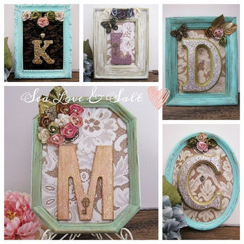 Personalized Christmas Gift Vintage Upcycled Framed Letters For Her