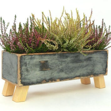 Wooden herb planter, Windowsill Flowerpot, Box for Herbs, Handmade box,