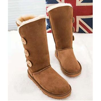 UGG: Popular Women Three Buttons Leather Wool Boots In Tube Brown