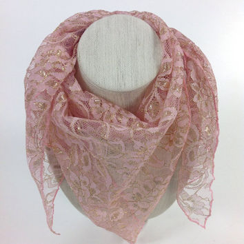 Cancer Pink scarf, Gift for Friend, Pastel Pink Lace Scarf, Cover up, Wedding Gift, Hip lace scarf, Mother of the bride scarf, Gift box gift
