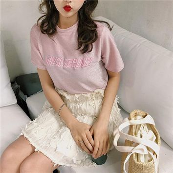2018 Women's T-shirts Japan Punk Ladies Ulzzang Bright Pink Letter Embroidered T-shirt Female Korean Kawaii Cute Tops For Women