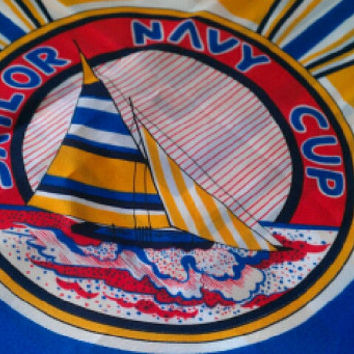 Scarf - Sailor Navy Cup - Vintage, Blue, Gold, Red, White, Nautical